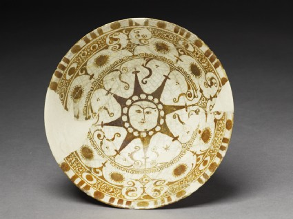 Bowl with human-faced suntop