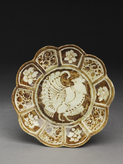 Saucer with lobed rim and birdtop