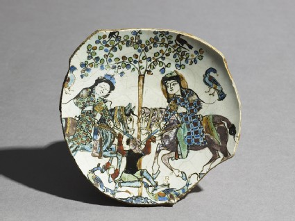 Base fragment of a dish with two men on horse-back fighting a non-human creaturetop