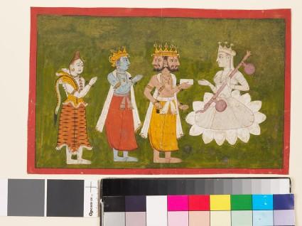 Devi revered by Brahma, Vishnu, and Shivafront