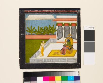 The poet Bihari Lal venerates Krishna and Radhafront