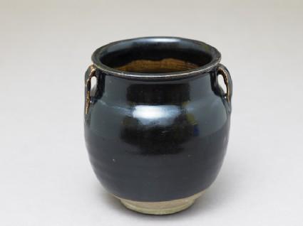 Black ware jar with black glazeoblique