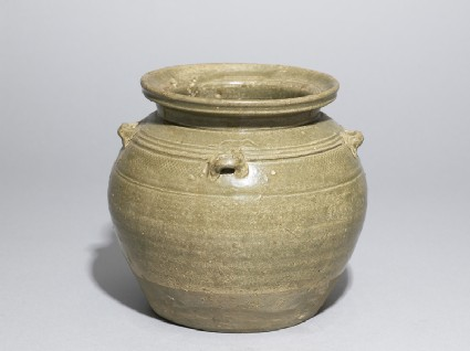 Greenware globular jar with loop handlesoblique