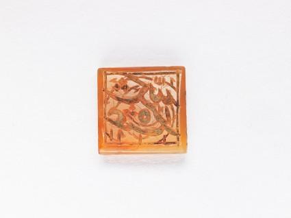 Square bezel seal with nasta'liq inscription and spiral decorationfront