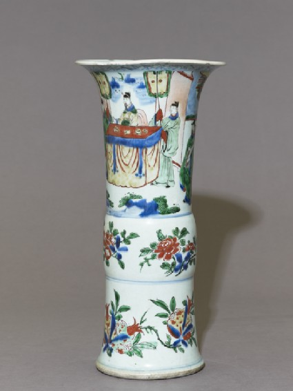 Beaker vase with a seated official receiving a messengerside