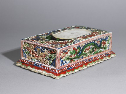 Porcelain inkstone decorated with dragons chasing fiery pearlsoblique