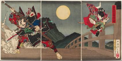 Yoshitsune and Benkei at Gojō Bridgefront