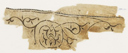 Textile fragment with scroll tendril and trefoil leaves, probably from a tentfront