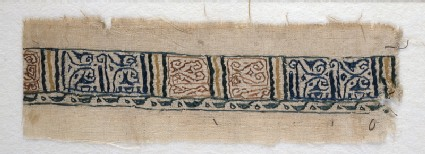 Textile fragment with band of pseudo-inscription, leaf-shaped finials, and tendrilsfront