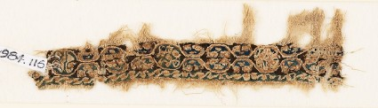 Textile fragment with linked medallionsfront