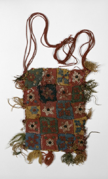 Quilted bag with rosettes, stars, and quatrefoils, probably an amulet-bagfront