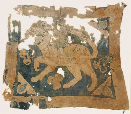 Textile fragment with lion, possibly from a standardfront