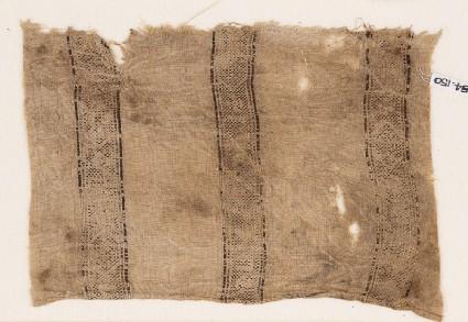 Textile fragment with bands of lozenges and quatrefoilsfront