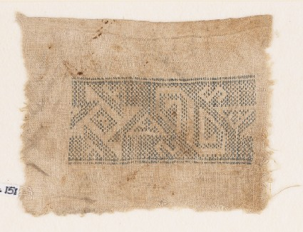 Textile fragment with spiral, inverted hooks, triangles, and S-shapesfront