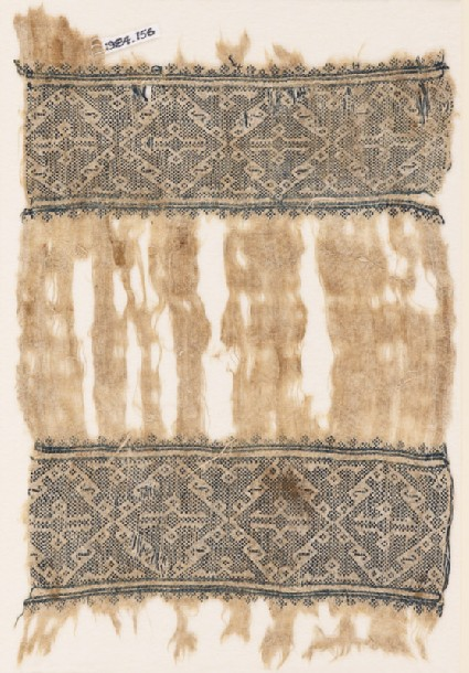 Textile fragment with bands of diamond-shaped squaresfront