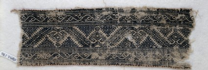 Textile fragment with leaf scrolls, palmettes, and trianglesfront
