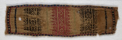 Textile fragment with S-shapes and stylized leaves, possibly a trouser tie-beltfront