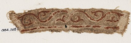 Textile fragment with tendril and leavesfront