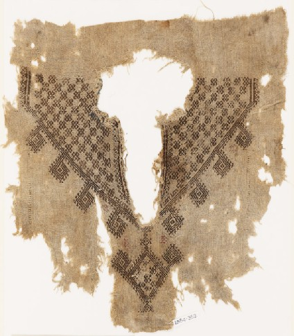 Fragment from the neck opening of a tunic with crosses and diamond-shapesfront