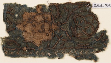 Textile fragment with star and interlocking circlesfront
