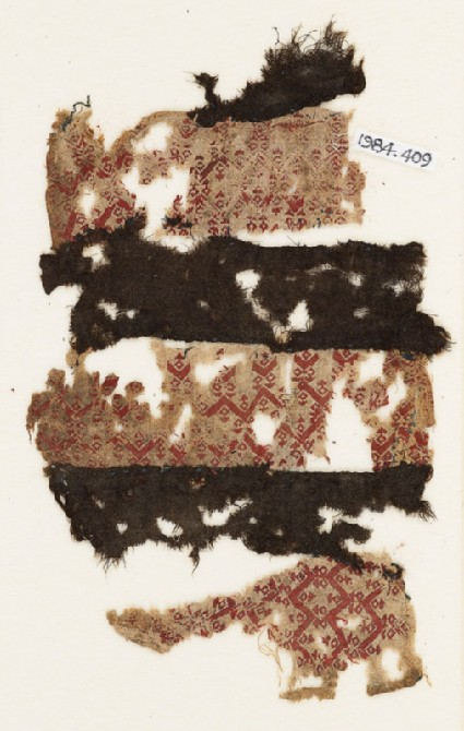 Textile fragment with three bands of chevronsfront