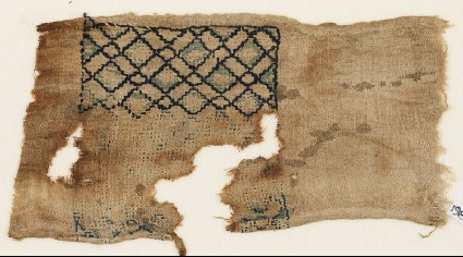 Textile fragment with grid of diagonal linesfront