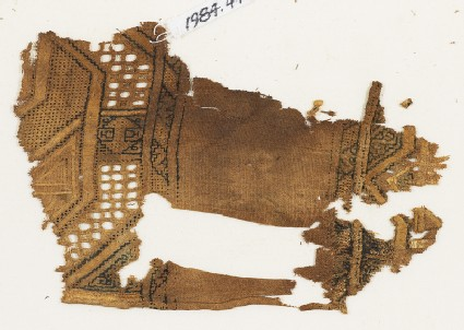 Textile fragment, possibly from a sash or shawlfront