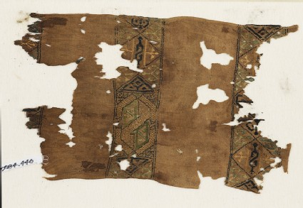 Textile fragment with squares and hexagonsfront