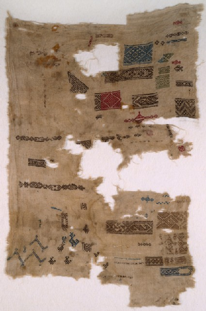 Sampler fragment with chevrons, birds, and fishfront