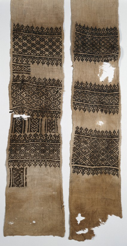 Textile fragment, possibly from a scarf or turban coverfront