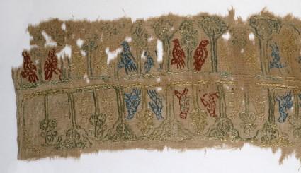 Textile fragment with birdsfront
