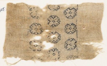 Textile fragment with three rows of octagonsfront
