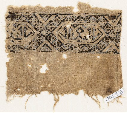 Textile fragment with band of linked hexagonsfront