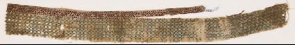 Textile fragment with linked diamond-shapes and possibly pseudo-inscriptionfront