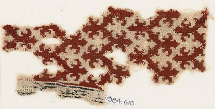 Textile fragment with chevrons and trefoil finialsfront