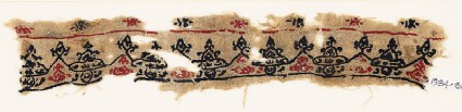 Textile fragment with triangular peaks, trefoils, and heartsfront