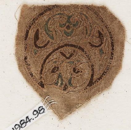 Roundel textile fragment with blazonfront