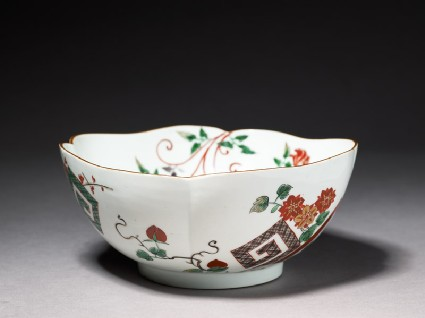 Lobed bowl with geometric and floral designsoblique