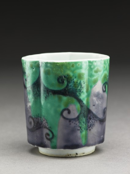 Sake cup with abstract designoblique