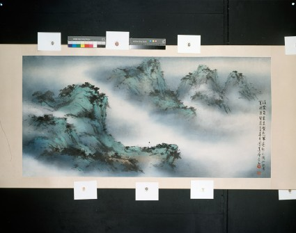 Landscape with floating cloudsfront, painting only