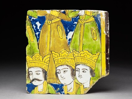 Frieze tile with crowned figurestop