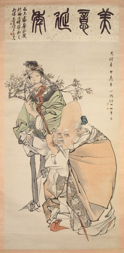 The God of Longevity with attendantfront, painting only