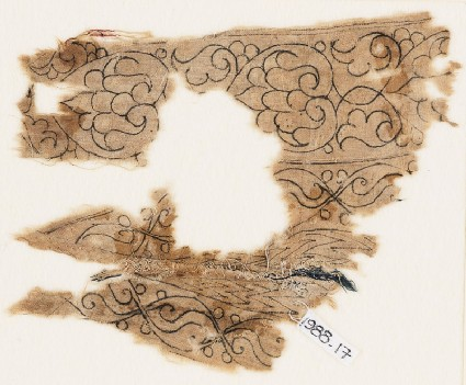 Textile fragment with palmettes, interlacing leaves, and tendrilsfront