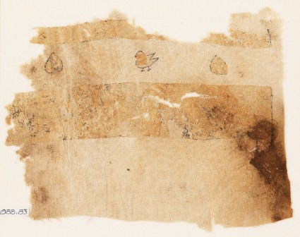 Textile fragment with hearts and birdfront