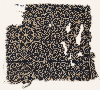 Textile fragment with elaborate rosettes, tendrils, and leavesfront