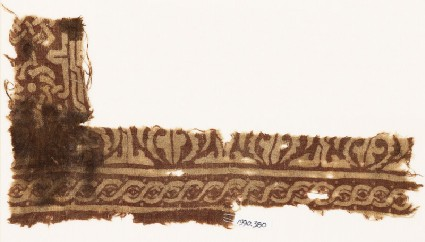 Textile fragment with interlace based on script, and cable patternfront