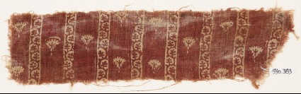 Textile fragment with flowers and bands of vinefront
