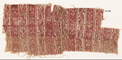 Textile fragment with bands of vine and flowersfront