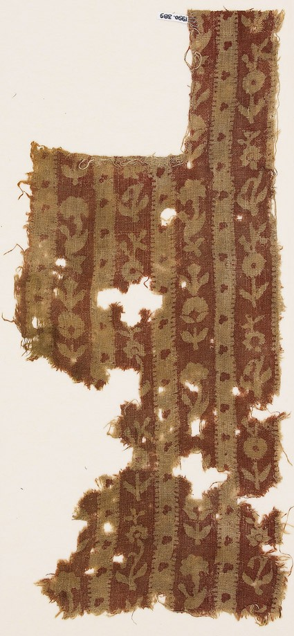 Textile fragment with bands of flowers, possibly from a garmentfront