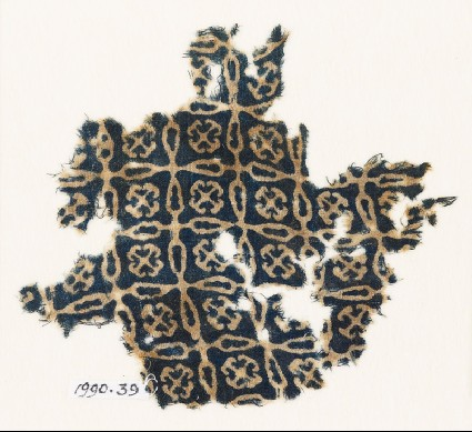 Textile fragment with linked crosses and Maltese crossesfront